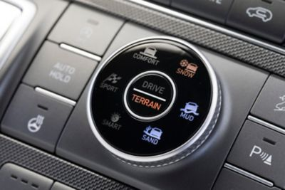 An image of the Terrain Mode Selector on the new Hyundai Santa Fe Hybrid 7 seat SUV.