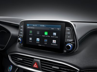 "Image of the 8"" touch-screen inside the all-new Hyundai Santa Fe."
