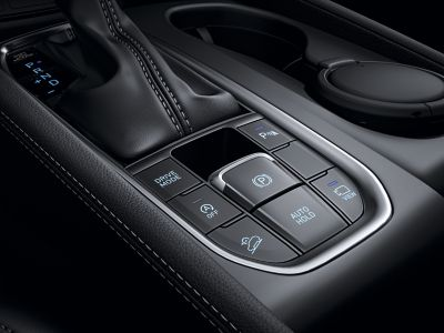 Graphic showing the controls of the electric parking brake in the all-new Hyundai Santa Fe.