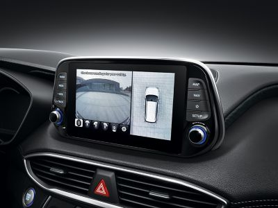 Graphic showing the surround view monitor of the all-new Hyundai Santa Fe.