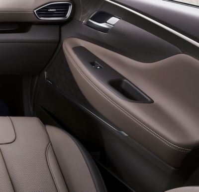 Detail view of the leather used in the all-new Hyundai Santa Fe's interior.