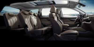 Vista lateral del espacio interior del Hyundai SANTA FE.