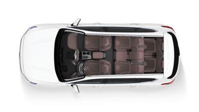 Wnętrze nowego Hyundaia SANTA FE widziane z góry.