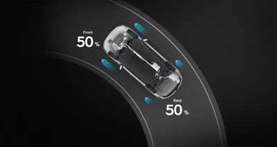 Illustration of the sport driving mode of the new Hyundai Santa Fe 7 seat SUV.
