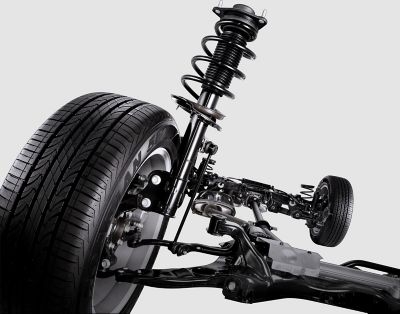 Graphic showing the front MacPherson suspension.