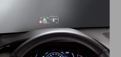 Image showing the information shown on the head-up display.