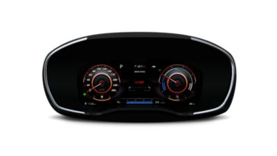 "A picture of the new Hyundai Santa Fe Hybrid's new 12.3"" fully digital cluster."