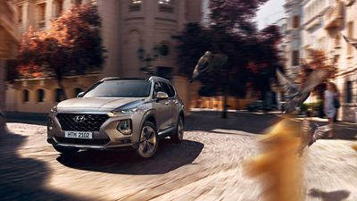 Photo showing the all-new Hyundai Santa Fe driving on a street.