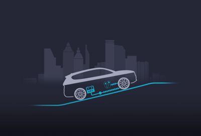 Lavoro parallelo del motore elettrico a benzina di Nuova Hyundai Santa Fe Hybrid