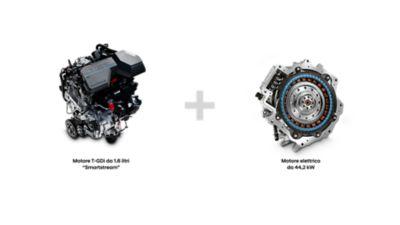 Posizionamento del motore termico ed elettrico nel nuovo SUV 7 posti Hyundai Santa Fe Hybrid