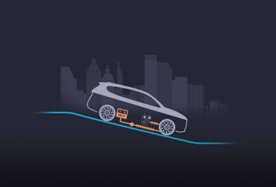 Ricarica della batteria con il sistema di frenata rigenerativa di Nuova Hyundai Santa Fe Hybrid