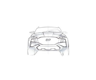 Concept in bianco e nero della vista frontale del SUV 7 posti Nuova Hyundai Santa Fe Hybrid