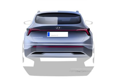 Design posteriore del SUV 7 posti Nuova Hyundai Santa Fe Hybrid
