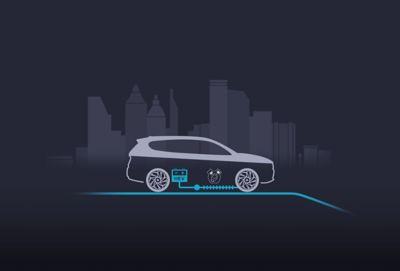 Illustrazione dell'accelerazione del motore elettrico del SUV Nuova Hyundai Santa Fe Hybrid