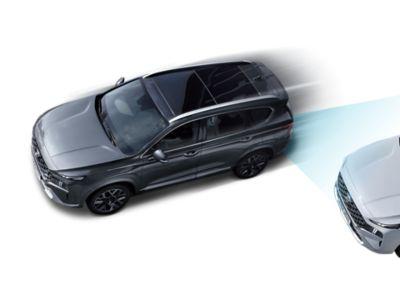 Immagine dall'alto di Nuova Hyundai Santa Fe Hybrid che evidenzia gli avanzati sistemi di assistenza alla guida