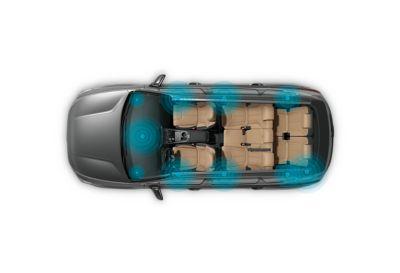 Immagine del sistema audio premium KRELL all'interno di Nuova Hyundai Santa Fe Hybrid