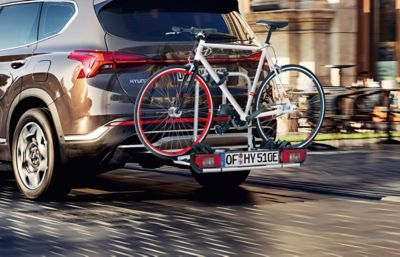 Genuine accessories bike carrier for all tow bars for the Hyundai SANTA FE.