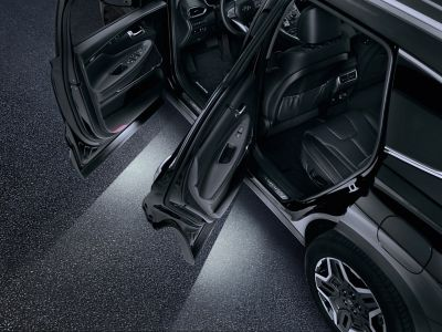 The Hyundai SANTA FE with LED door lights.
