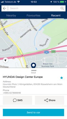 An image of the Bluelink app showing the destination send to car function of the new IONIQ Electric.
