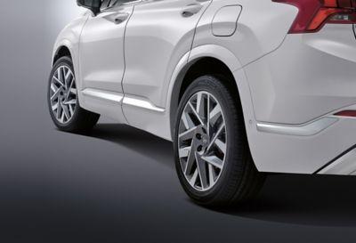 A close up of the 20 inch wheels on the new Hyundai Santa Fe.