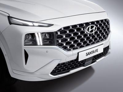 A close up image of the new front bumper design on the new Hyundai Santa Fe SUV.
