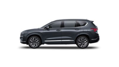 Side view of the new Hyundai Santa Fe Hybrid 7 seat SUV.