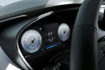 "The new Hyundai Santa Fe Plug-in Hybrid 7 seat SUV's new 12.3"" fully digital cluster."