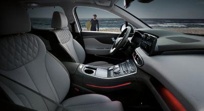 Interior view of the new Hyundai Santa Fe 7 seat SUV showing the cockpit.
