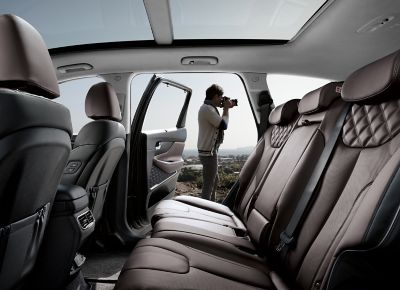 Interior view of the new Hyundai Santa Fe 7 seat SUV showing the backseats.