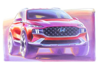 A concept drawing in color of the new Hyundai Santa Fe 7 seat SUV from the front.
