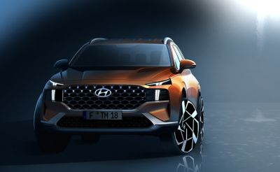 The front design of the new Hyundai Santa Fe 7 seat SUV.