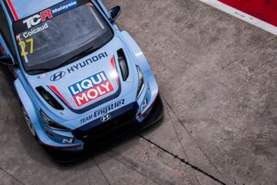 The Hyundai i30 N TCR seen from above.