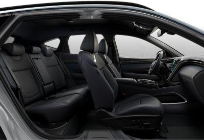 I cinque sedili all'interno del Nuovo SUV compatto Hyundai TUCSON Plug-in Hybrid.