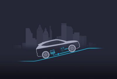 Silnik elektryczny i spalinowy działające równocześnie w nowym kompaktowym SUV-ie Hyundai TUCSON Plug-in Hybrid.