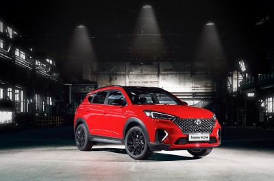 The new Hyundai Tucson N Line pictured from the front.