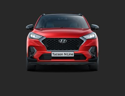 The new Hyundai Tucson N Line pictured from the front and with a close up on the Cascading Grille.