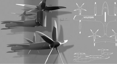 Detail view of Hyundai' S-A1 concept Personal Air Vehicles (PAV) rotor design.