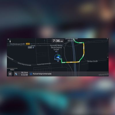 Captura de pantalla del sistema de navegación de Hyundai con la función de envío de rutas.