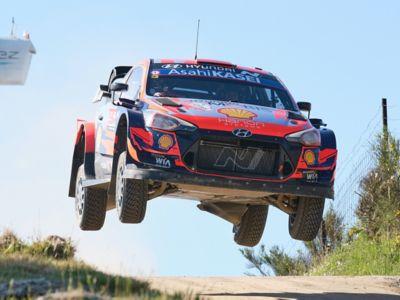 The Hyundai i20 Coupe WRC sliding in a corner in the Rallye Monte Carlo.