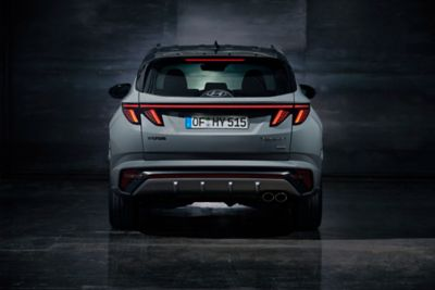 Rearview of the all-new Hyundai TUCSON N Line in shadow grey.