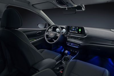 The all-new Hyundai i20 dashboard with blue ambient mood light