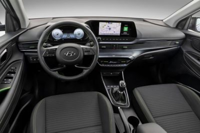 "The all-new i20 steering wheel, dashboard with 10.25"" digital cluster and 10.25"" AVN touchscreen"
