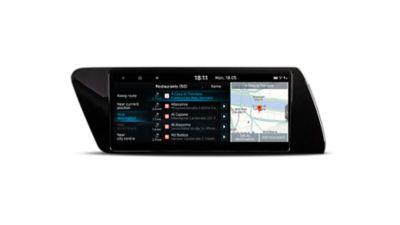 Snímek obrazovky LA LISTE v nabídce navigačního systému nového vozu Hyundai i20