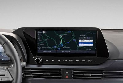 "Close-up of the all-new Hyundai i20 10.25"" AVN touchscreen with navigation system on screen"