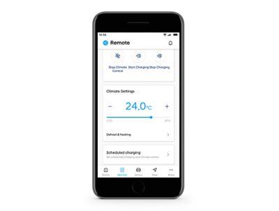 Screen of the HVAC settings in the Hyundai Bluelink App.