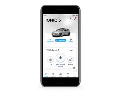 screenshot of Hyundai bluelink app on the iphone: unlocking the car