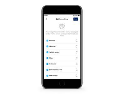 Close-up of the Hyundai Bluelink app