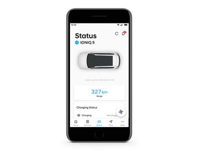 Image of the bluelink app showing the  battery status check.