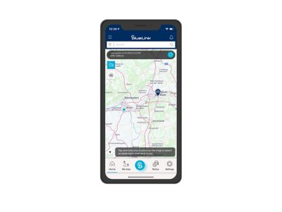 Close-up of the Hyundai Bluelink app with the Find My Car feature.