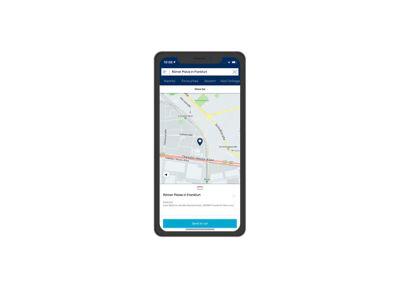 Screenshot di app Bluelink su iPhone: invio della destinazione all'auto.